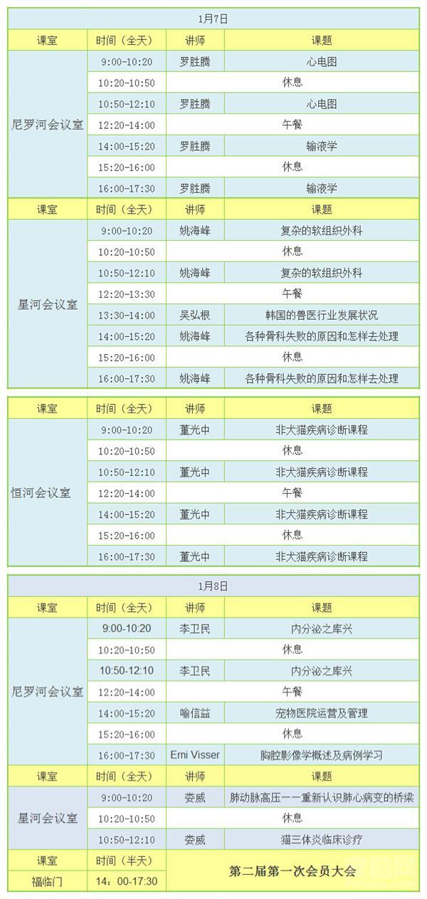 2016年广州市动物诊疗行业协会新年年会课程表